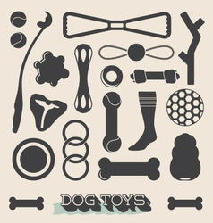 Set of dog toy icons and objects vector
