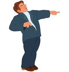 Cartoon man in blue suit pointing with index vector