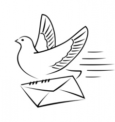 Carrier pigeon with letter vector