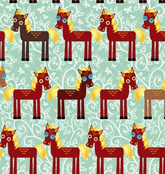 Brown horse on a blue floral background seamless vector