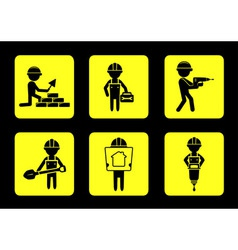 Set yellow construction icons with builders vector