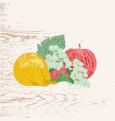 Fruits as engraving vintage vector