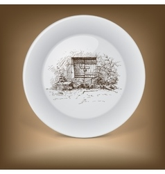 Decorative plate with rural landscape vector