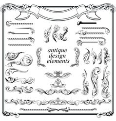 Calligraphic design elements page decoration set vector