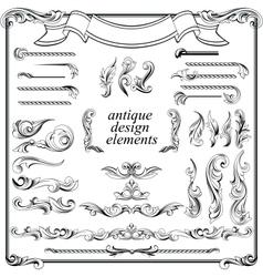 Calligraphic design elements page decoration set vector