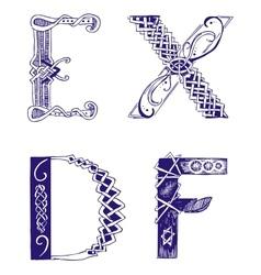 Hand-drawn letters d e f x vector