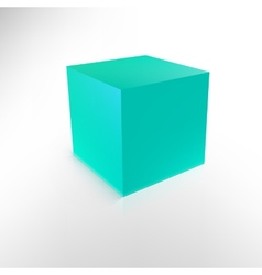 Blue cube with shadow and reflection isolated on vector