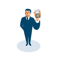 Businessman secret agent showing id card badge vector