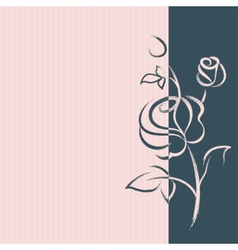 Greeting card with a hand drawn rose vector
