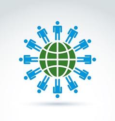 Green earth and mankind symbolic icon conceptual vector