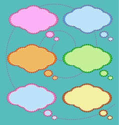Six colorful thought bubbles on green pattern vector