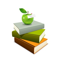 Colorful book and green apple vector