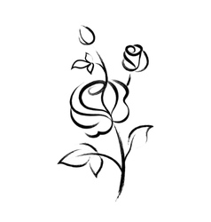 Black hand drawn rose isolated on white background vector