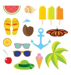 Set flat icons travel and line length summer vector