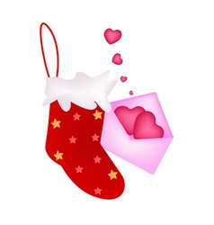 A lovely red christmas stocking with love letter vector