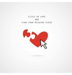 Click and find love valentine card vector