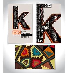 Ancient business card design letter k vector