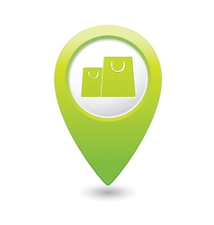 Bag icon map pointer green vector