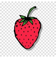 Strawberry sketch on transparent background for vector