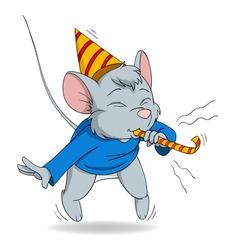 Cute cartoon mouse blow in fife vector