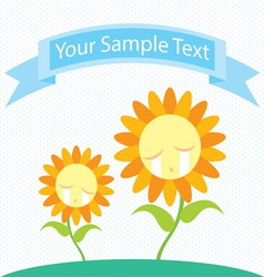 Sunflower cry cartoon vector