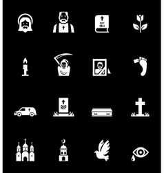 Funeral icons vector