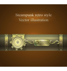 Retro banner in shades of brown steampunk vector