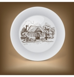 Decorative plate with drawing of old cottage vector