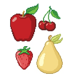 8-bit fruit icons vector