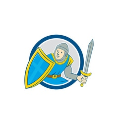 Medieval knight shield sword circle cartoon vector