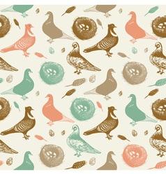 Retro pigeons pattern vector