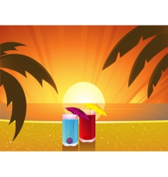 Summer sunset and cocktails vector
