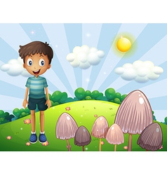 A happy boy at the hill with mushrooms vector