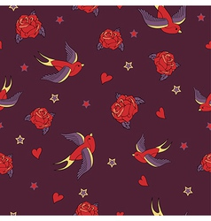 Seamless pattern with swallows roses hearts and vector