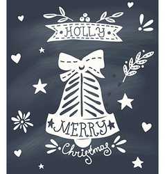 Christmas greeting card with sketchy bell and vector