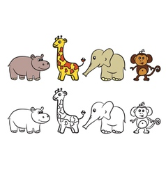 Animals set coloring book vector