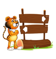 A wooden signboard with a tiger vector