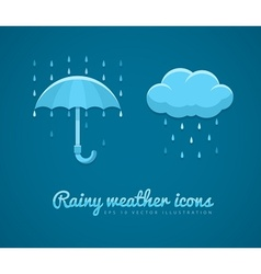 Flat icons of rainy weather vector