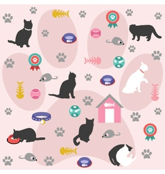 Seamless pattern cat icons vector