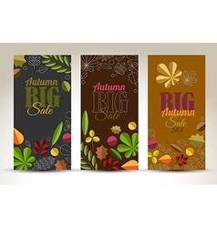 Fresh minimalist fall vertical banners with leafs vector