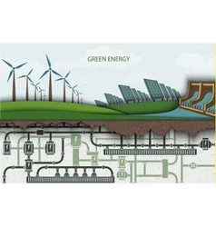 Green energy wind-powered electricity vector