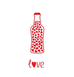 Beer bottle with hearts inside love card vector