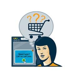Female internet shopper shopping cart vector
