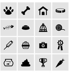 Black pet icon set vector