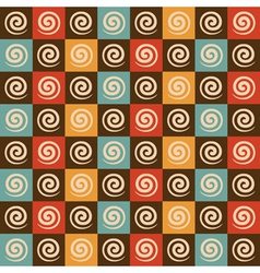 Retro spiral and square pattern background vector