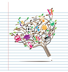 Pencil tree shaped made with school icons vector