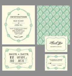 Set classic invitation swirls vector