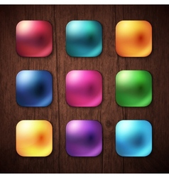 Shiny colored square buttons on wooden background vector