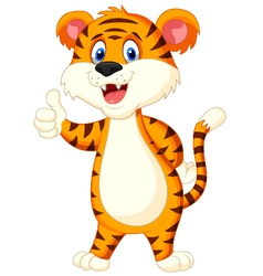 Cute tiger cartoon thumb up vector