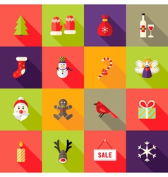 Christmas square flat icons set 4 vector